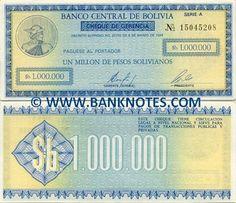 bolivia currency | Bolivia One Million Pesos Bolivianos 1985 - Bolivian Currency Bank ...