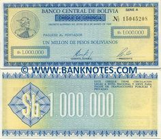 bolivia currency | Bolivia One Million Pesos Bolivianos 1985 - Bolivian Currency Bank ...
