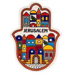 CeramicSize: 10 X 14 cm / 4 X gorgeous Hamsa shaped Armenian ceramic tile will add a touch of inspirational beauty to any wall it adorns! It features a colorful and cheerful Jerusalem decora Small Canvas, Canvas Art, Palestine Art, Hamsa Art, Hamsa Design, Diy Resin Art, Palestinian Embroidery, Naive, Religion