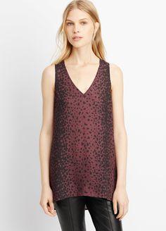 b2401cb7165606  245 Vince Leopard silk v neck tank - brown  black animal print