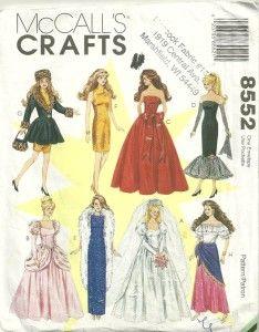 McCalls 8552 Elegant Barbie Doll Clothes Pattern Uncut Barbie Doll Clothes Sewing Pattern Bride Gypsy Formal by patterngate.com