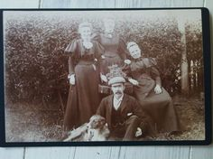 Cabinet Card Antique Photo Family with Collie Dog by RagtagStudio, $4.50