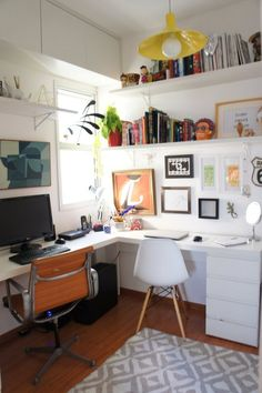 41 Contemporary Home Office Design Ideas « housemoes Home Office Layouts, Home Office Organization, Home Office Design, Home Office Decor, Home Decor, Office Ideas, Organization Ideas, Cool Office Space, Small Office