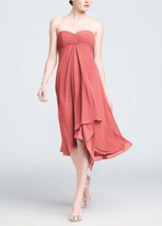 These flowing bridesmaid dresses in Coral Reef make a great addition to your beach wedding #BeachWedding #BridesmaidDress #DavidsBridal http://www.davidsbridal.com/Product_Strapless-Chiffon-Short-Dress-F12284_Bridal-Party-Bridesmaids-All-Bridesmaid-Dresses