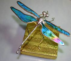Iridescent Aqua Stained Glass Dragonfly by Glassquirks on Etsy, $25.00