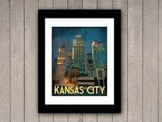 Kansas City Travel Print 16x20 Downtown Vintage by JustABitOutside, $40.00