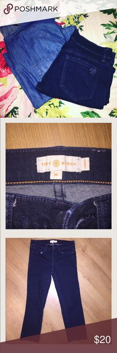 Tory Burch Crop Jeans • Size 26 Lovely Tory burch dark jean crops - size 26 - T on back pocket. -embossed Tory burch buttons and snaps on pockets. Super cute for summer! Tory Burch Pants Capris