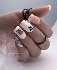 Square Nail Designs, Short Nail Designs, Short Square Nails, Short Nails, Pink Nails, My Nails, Fall Nails, Glitter Nails, Pastel Nails