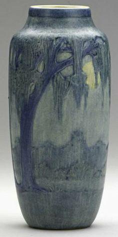 pottery  porcelain, Louisiana, A Newcomb College [art pottery], Anna Frances Simpson, scenic vase with live oaks, Spanish moss, full moon, ...