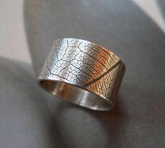 Anello modello foglia, anello argento, anello di banda larga, gioielli di metallo