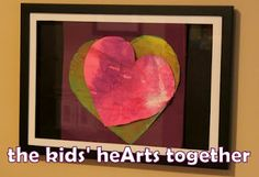 Two hearts made two kids - together as one piece of art. Painted by a toddler (non-messy) and a preschooler (messy!)