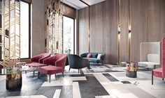 Stunning luxury interior design ideas from modern hotels. Lobby, bedroom, stairways and entryways, a room by room guide to finding inspiration with the best interior from world-renowned hotels. Modern Interior Design, Luxury Interior, Sala Vip, Design Entrée, Chair Design, Design Ideas, Hotel Lobby Design, Modern Hotel Lobby, Hotel Lounge
