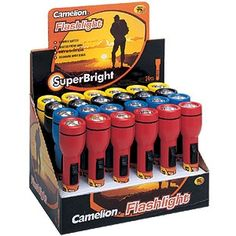 @ShopAndThinkBig.com - Each set of 24 wholesale flashlights features 6 red, 6 blue, 6 black and 6 yellow flashlights. These super bright all purpose flashlights are perfect for any vehicle, garage, house, office or emergency kit; as well as have hundreds of other places to use. http://www.shopandthinkbig.com/24-flashlights-and-display-camelion-p-540.html