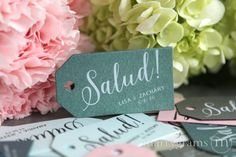 Salud! Custom Favor Tags by Marrygrams // Custom tags that are perfect for any delicious treat, trinket or any kind of wedding favor. Salud is a Spanish translation for 'cheers'!