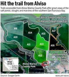 Wanderlust: Biking the salt ponds of Alviso Stuff To Do, Things To Do, County Park, San Francisco Bay, Ponds, Great View, Bay Area, Biking, Trail