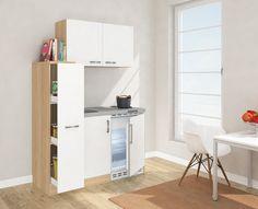 respekta Mini Küche Singleküche 130 cm inkl. Oberschrank Eiche Sägerau Nachbildung Front weiß MK 130 ESWOS: Amazon.de: Küche & Haushalt