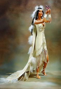 white leather wedding dress native