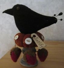 PRIMITIVE WOOL BIRD CROW STRAWBERRY  from primpenny