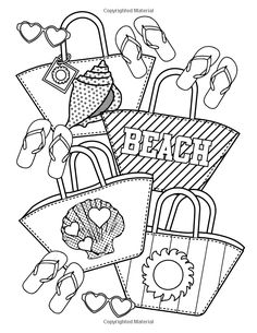 Beach Party Coloring Book: 24 Page Coloring Book Emoji Coloring Pages, Summer Coloring Pages, School Coloring Pages, Coloring Book Art, Cute Coloring Pages, Coloring For Kids, Beautiful Flower Drawings, Emoji Design, Valentines Day Coloring