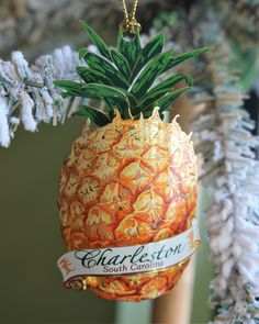 Welcome Pineapple Palmetto Tree, Palmetto Moon, Christmas Themes, Holiday Decor, Specialty Foods, Holiday Ornaments, The Fresh, Fresh Fruit, Charleston