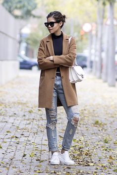fall / winter - street style - street chic style - winter outfits - casual outfits - comfy outfits - camel coat + black turtleneck top + distressed boyfriend jeans + white sneakers + white shoulder bag + black sunglasses