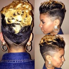 Check out our gallery of some seriously cute and sassy hair cuts we noticed this week Shaved Side Hairstyles, Girl Hairstyles, Curly Mohawk Hairstyles, Love Hair, Gorgeous Hair, Curly Hair Styles, Natural Hair Styles, Shaved Hair Designs, Sassy Hair
