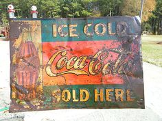 ORIGINAL OLD EARLY COCA COLA METAL SIGN WITH BOTTLE DATE NOV 16 1916