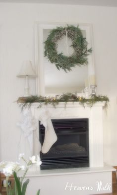 honey do, please make me a base similar to this for faux fireplace in dining room.kisses from the Mrs. Dining Room Fireplace, Faux Fireplace, Fireplaces, Christmas Decorations, Christmas Ideas, Vintage Farmhouse, Christmas Carol, Beautiful Christmas, Wonderful Time