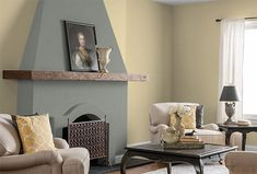 Emphasize an interesting #livingroom feature—like this fireplace—with grey paint. Colors: Honey Frost, White on White & Greycliffe. More ways to use this palette from @MakelyHome via MyColortopia.com