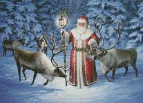 Santa With Reindeer - Cross Stitch Chart