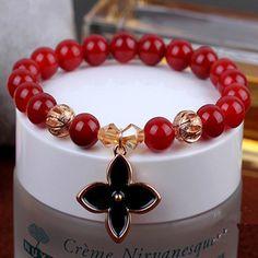 Ubeauty  Elegant Red Agate Beads women Strand Bracelets 8mm  Natural Stones DTY Elastic Line Bracelet Jewelry  for women Gift