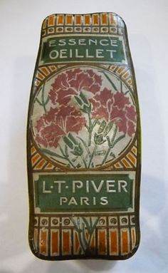 """ANCIENNE BOITE PARFUM """"ESSENCE OEILLET"""" DE LA PARFUMERIE L.T. PIVER"""