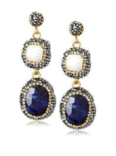 Grand Bazaar Baroque Pearl & Lapis Earrings - so fab!