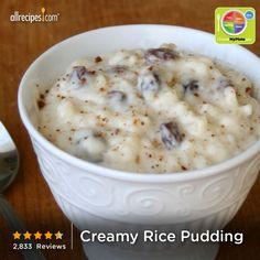 Creamy Rice Pudding from Allrecipes.com #myplate #grain #dairy