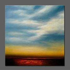 hand painted  Abstract oil painting  Modern decor wall art sky...