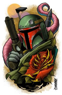 This is an print of one of everyone's favorite Bounty Hunter. These prints set the benchmark of high quality in the art. Neo Traditional, Traditional Tattoo, Mago Tattoo, Tattoo Bein, Star Wars Drawings, Star Wars Jokes, Star Wars Design, Star Wars Tattoo, Star Wars Wallpaper