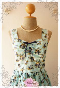 Vintage Style Dress Blue Floral Tea Dress Bridesmaid Dress Vintage Inspired Dress One of a Kind  -Size S
