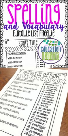 This free editable Spelling and Vocabulary List is such a time saver! Use it every week to keep your students and yourself organized! Also, checkout some of my other spelling products here!