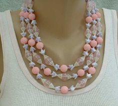 Triple Strand Pink Lavender Plastic Bead Necklace Sugar Beads Vintage Jewelry