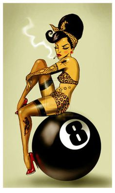 Change her look a bit (not smoking, hair down) and change the 8- ball to a mine with 3 in the middle of it...