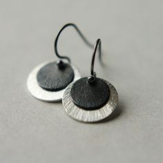 Mixed Metal Jewelry Sterling Disc Earrings Circle by juliegarland, $24.00