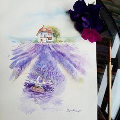 Навояла вчера домик. Давно хотела лавандовые поля порисовать.. еще бы с натуры, вообще сказка. Доброе утро, хорошего дня! #печенюшкинвтворчестве #акварель #art #artтерапия #рисуйчтохочешь #watercolor #drawing #paint #painting  #рисуйчтолюбишь