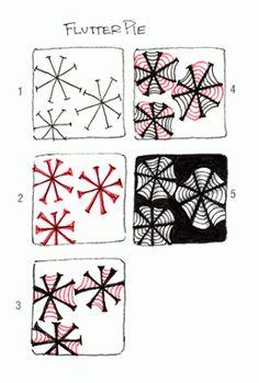flutter pie  |  tangle pattern b Carole Ohl