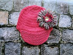 Bubblegum Crochet Brim Hat with Hot Pink Leopard and by RBBoutique, $9.00