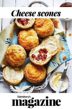 A British classic for a reason, our cheese scones recipe is a scrummy savoury treat, delicious spread with butter and chutney Fruit Scones, Cheese Scones, Savory Scones, Sainsburys Recipes, Afternoon Tea Recipes, Baking Recipes, Scone Recipes, Aga Recipes, Baking Ideas