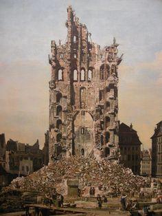 Ruins of Dresden's Kreuzkirche - Bernardo Bellotto - WikiArt.org