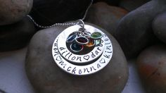 Mother's birthstone hand stamped necklace by thecharmedwife, $75.00