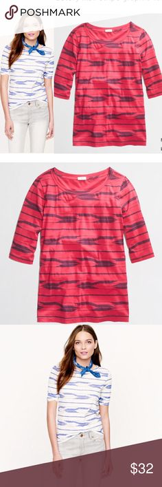 🎉HP J.Crew IKAT Ted Stripe Graphic Tee Shirt XS 🎉HOST PICK J.Crew IKAT Stripe Graphic Tee Shirt. Size XS. Red & Navy blue Color.  Ikat Tribal print soft cotton jersey. The tee's silhouette is a straight but slim, with a great drape and lean elbow-length sleeves. (sleeves can be rolled). Cotton Material  Body length: 21 inches  In very good condition. Please ask any questions  💲Open To Offers💲 🚫No Trades🚫 📦Ask About Bundle Discounts💰 J. Crew Tops