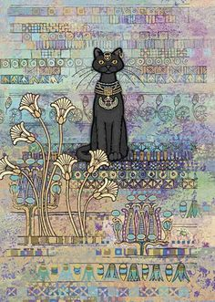 Egyptian Cat Blank Greetings Card