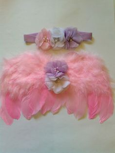 Pink Newborn Baby Angel Wings with Flowers Photo Photography Prop USA SELLER
